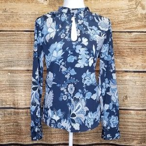 United Colors Of Benetton Blue Floral Blouse Med
